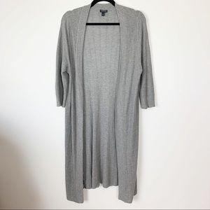 Torrid long cardigan gray duster sweater open 1X